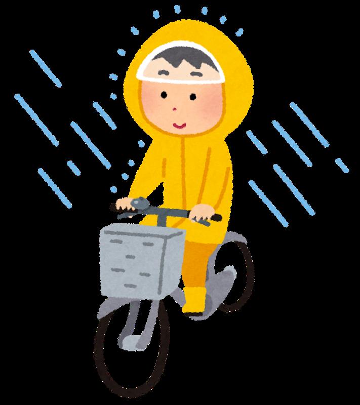 カッパを着て自転車に乗る人